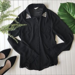button up sheer black Blouse with collar!